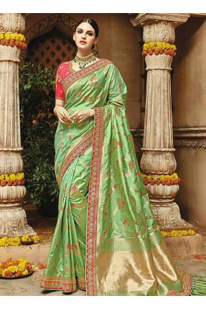 Light green pure banarasi silk wedding saree 1210