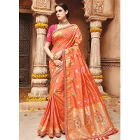 Light orange pure banarasi silk wedding saree 1212