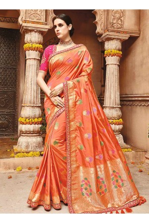 Light orange pure banarasi silk wedding saree 1212