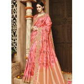 Light pink pure banarasi silk wedding saree 1216