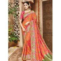 Orange pure banarasi silk wedding saree 1203