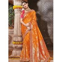 Orange pure banarasi silk wedding saree 1208