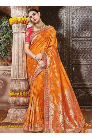 Orange pure banarasi silk wedding saree 1208