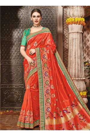 Orange pure banarasi silk wedding saree 1219