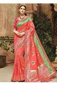 Peach pure banarasi silk saree 1206
