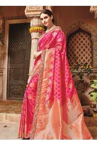 Pink pure banarasi silk wedding saree 1211
