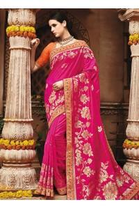 Pink pure banarasi silk wedding saree 1217