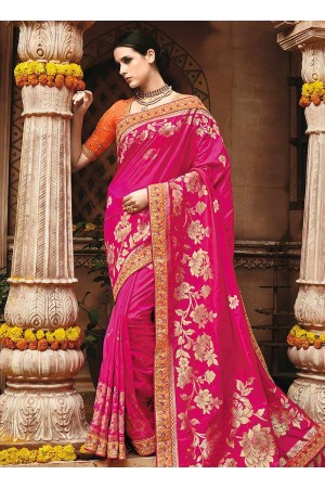 Pink pure banarasi silk wedding saree 1217