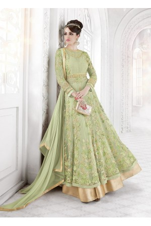 Pista Green color net party wear anarkali
