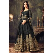 Sonal chauhan black georgette party wear anarkali suit 4705