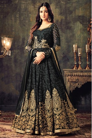 Sonal chauhan black georgette party wear anarkali suit 4705