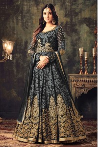 Sonal chauhan grey georgette party wear anarkali suit 4705