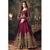 Sonal chauhan pink georgette party wear anarkali suit 4705