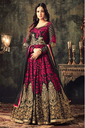 Sonal chauhan pink georgette party wear anarkali suit 4705