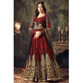 Sonal chauhan Red georgette party wear anarkali suit 4705