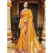 Yellow pure banarasi silk saree wedding 1218