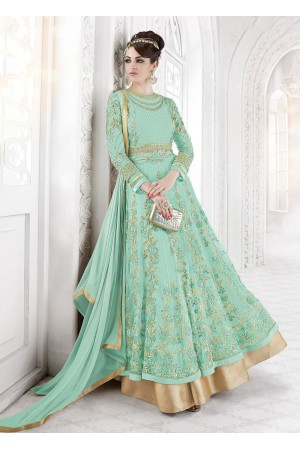 Cool green color net party wear anarkali