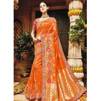 orange pure banarasi silk saree 1201