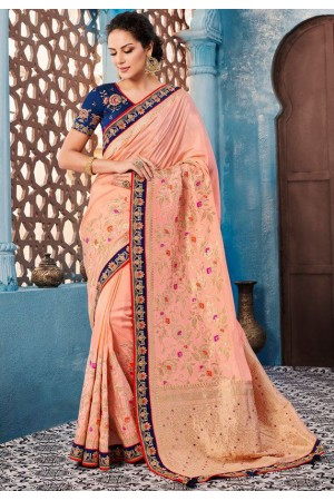 Blush color Indian wedding wear silk saree 7003