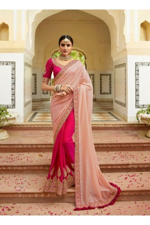 Blush pink half n half silk Indian wedding wear saree 5003