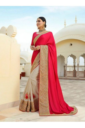 Cream pink silk Indian wedding wear saree 5005