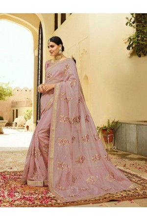 Dusty pink silk Indian wedding wear saree 5002