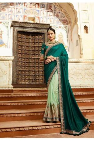 Emerald green silk Indian wedding wear saree 5018