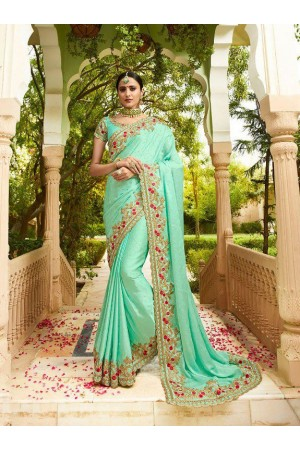 Fresh green silk Indian wedding wear saree 5008