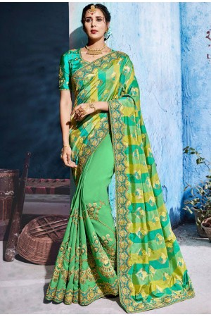 Green and yellow color silk Indian wedding wear saree 1103
