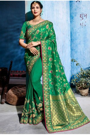 Green color silk Indian wedding wear saree 1107