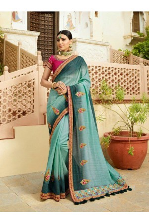 Green shaded and pink silk Indian wedding wear saree 5020