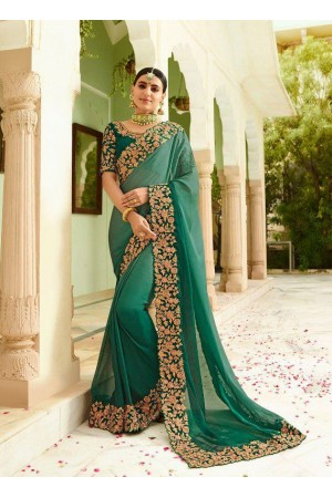 Green silk Indian wedding wear saree 5006