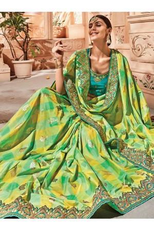 Green yellow check silk Indian wedding wear saree 1913
