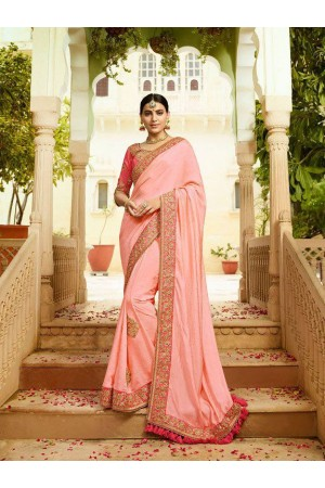 Light pink silk Indian wedding wear saree 5009
