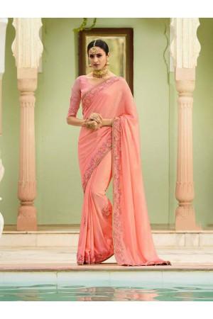 Light pink silk Indian wedding wear saree 5015