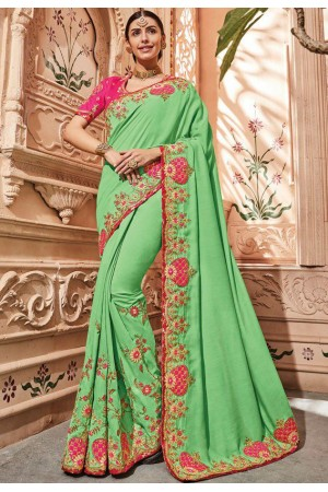 Liril green silk Indian wedding wear saree 1901