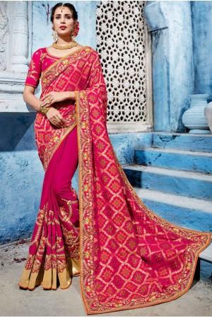 Magenta color silk Indian wedding wear saree 1101