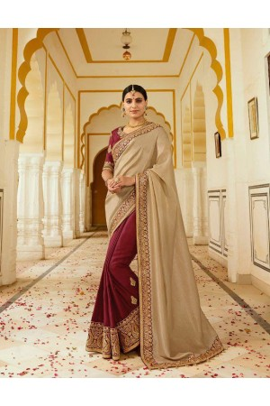 Maroon chikoo silk Indian wedding wear saree 5007