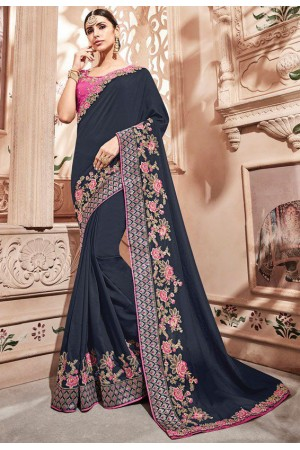 Navy blue silk Indian wedding wear saree 1903