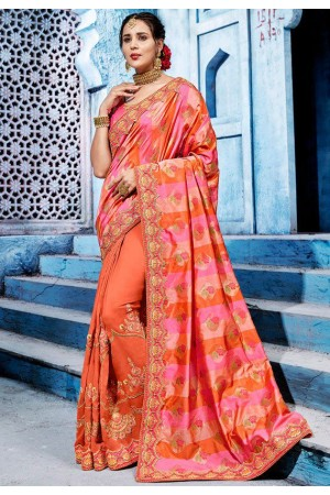 Orange and pink color silk Indian wedding wear saree 1104