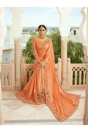 Orange silk Indian wedding wear saree 5013