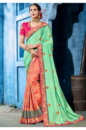 Pastel Pink color silk Indian wedding wear saree 1106