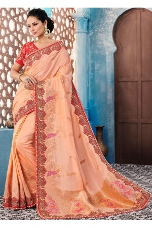 Peach color Indian wedding wear silk saree 7002