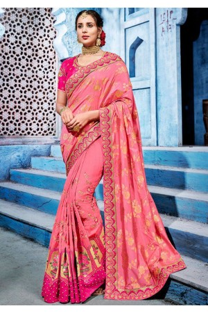 Pink color silk Indian wedding wear saree 1105