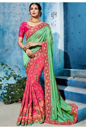 Pink green color silk Indian wedding wear saree 1102