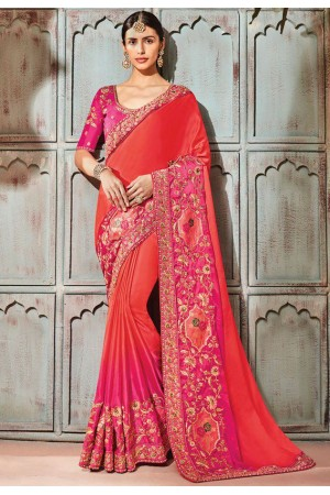 Pink silk Indian wedding wear saree 1904