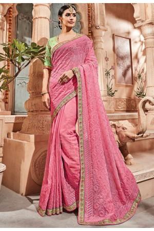 Pink silk Indian wedding wear saree 1911