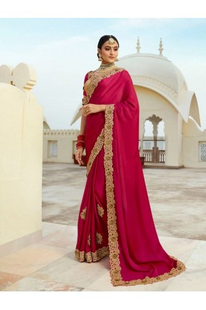 Pink silk Indian wedding wear saree 5011