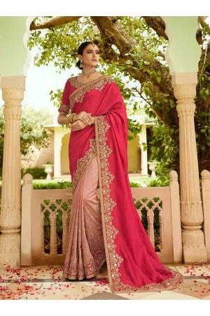 Pink silk Indian wedding wear saree 5017