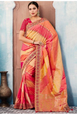 Pink yellow checked Indian wedding wear silk saree 7006